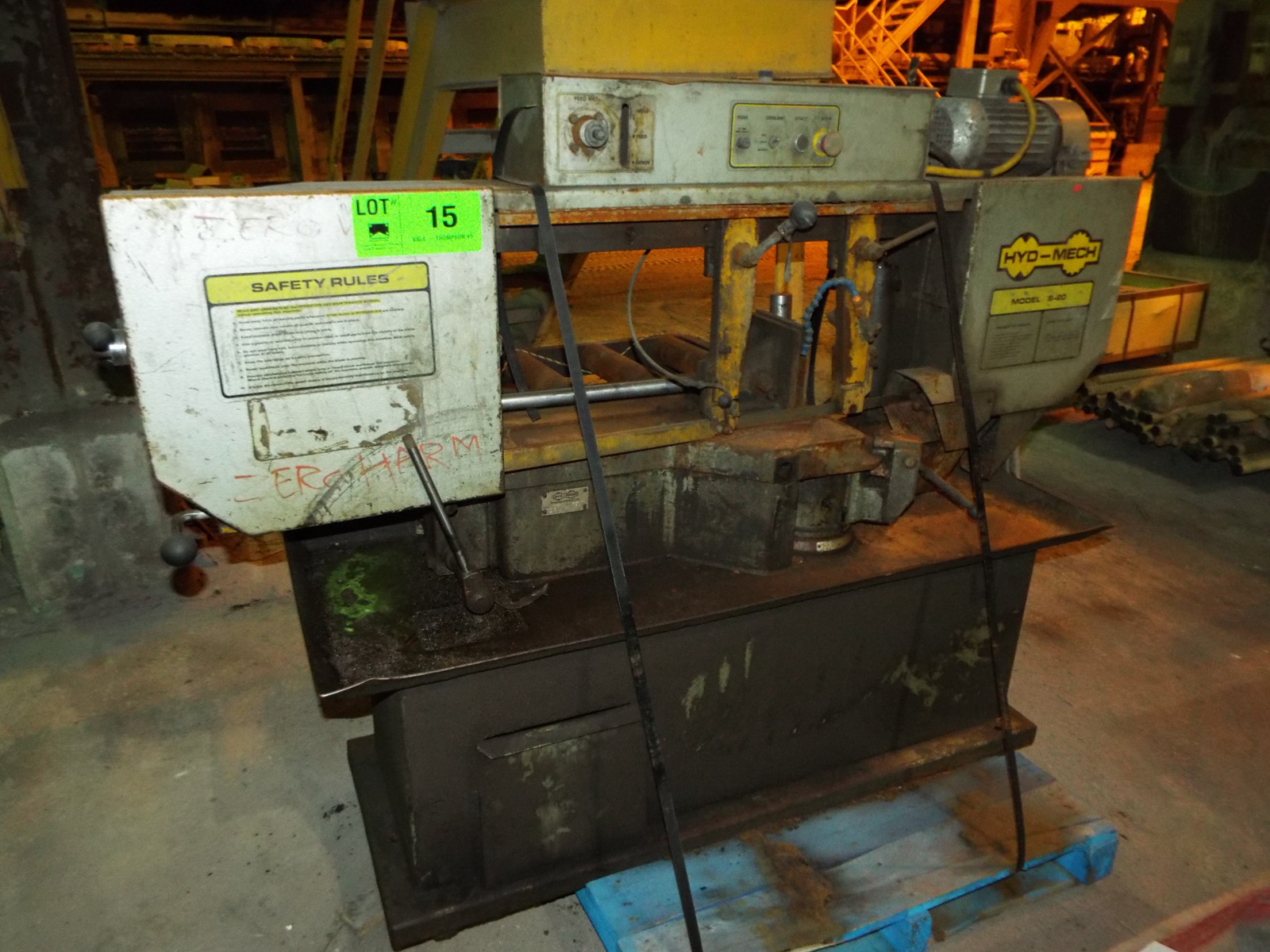 """HYD-MECH S-20 AUTOMATIC HORIZONTAL BAND SAW WITH 13""""X18"""" CAPACITY, 370 RPM, 2 HP, VARIABLE FEED - Image 7 of 7"""
