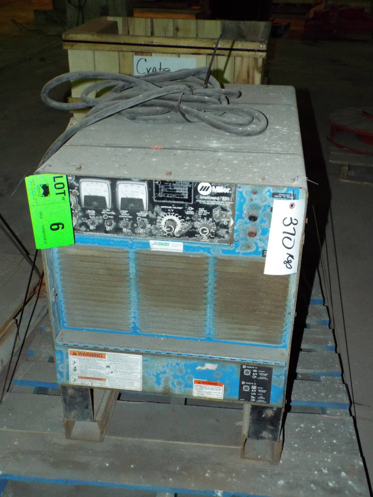 MILLER INTELLIWELD 650 WELDING POWER SOURCE WITH CABLES, S/N: N/A