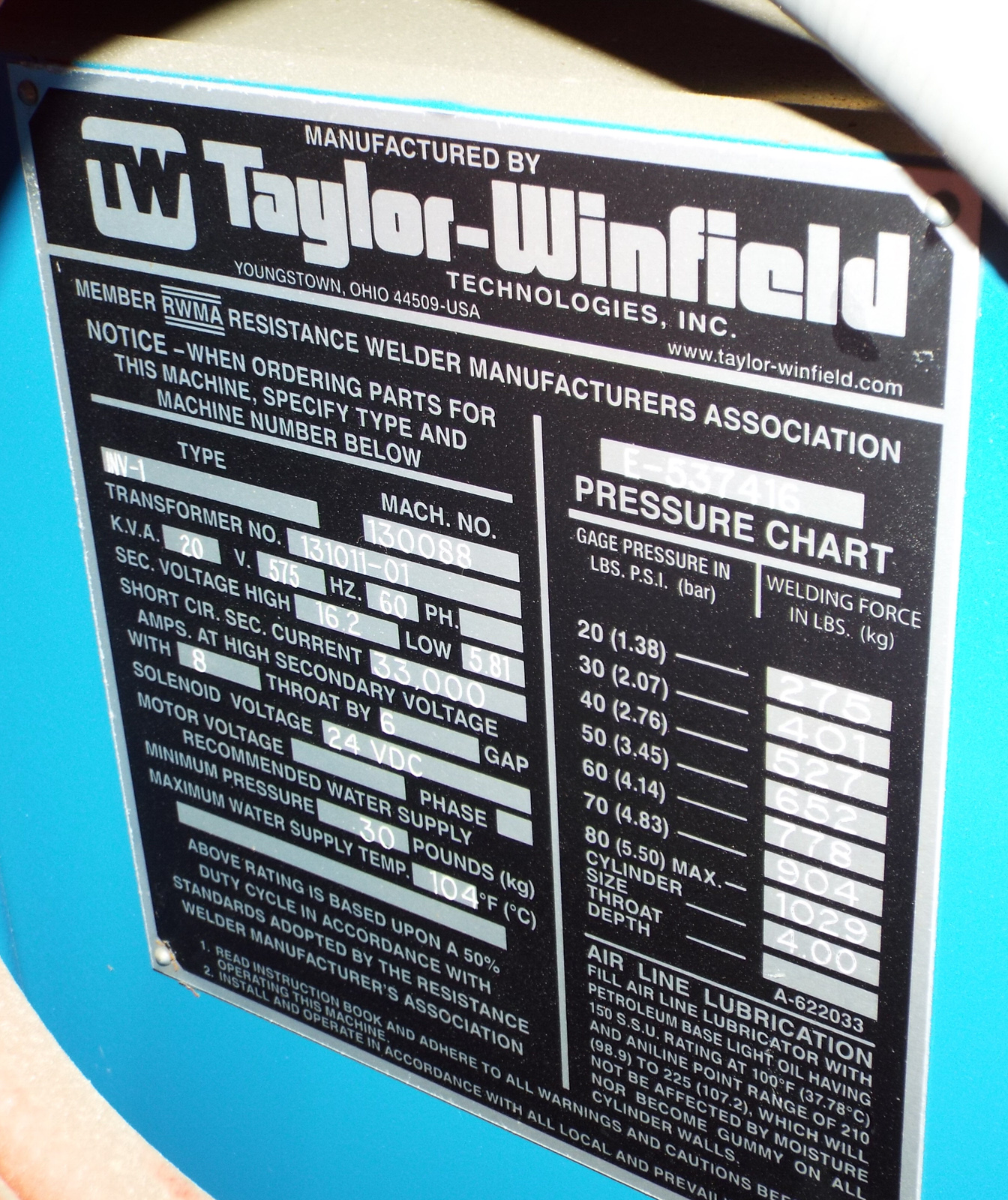 "TAYLOR WINFIELD NV-1 SPOT WELDERS WITH UNITROL SOLUTION DIGITAL CONTROL, 20 KVA, 575V, 8"" THROAT, 6"" - Image 5 of 5"