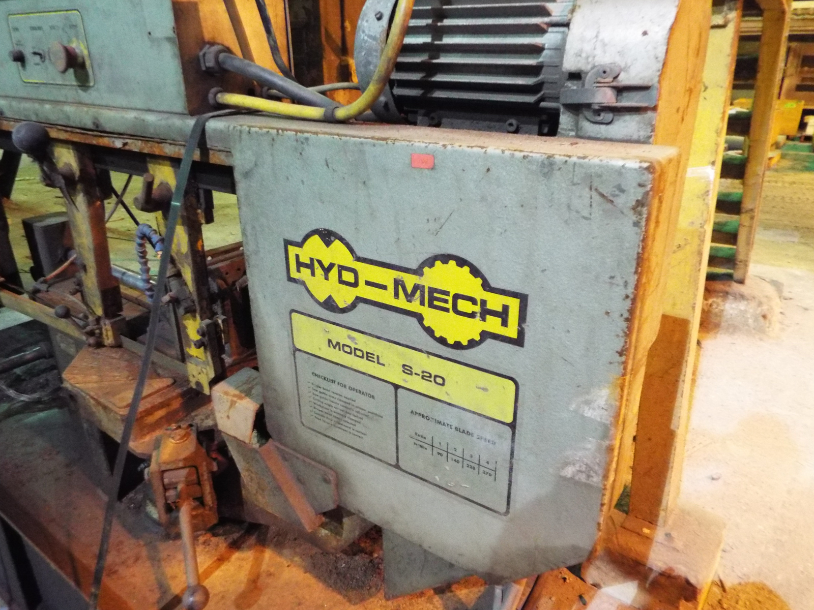 """HYD-MECH S-20 AUTOMATIC HORIZONTAL BAND SAW WITH 13""""X18"""" CAPACITY, 370 RPM, 2 HP, VARIABLE FEED - Image 5 of 7"""