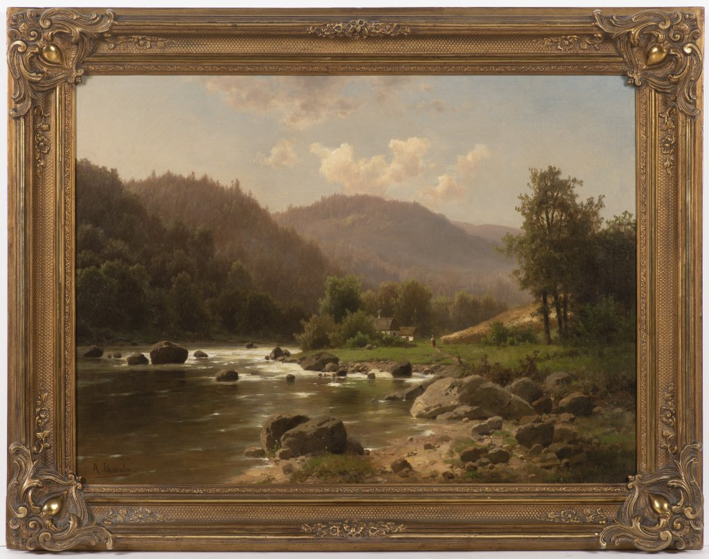 ADOLF CHWALA 1836 - 1900: ROMANTIC LANDSCAPE WITH A BROOK After 1870 Oil on canvas 58 x 79 cm Signed