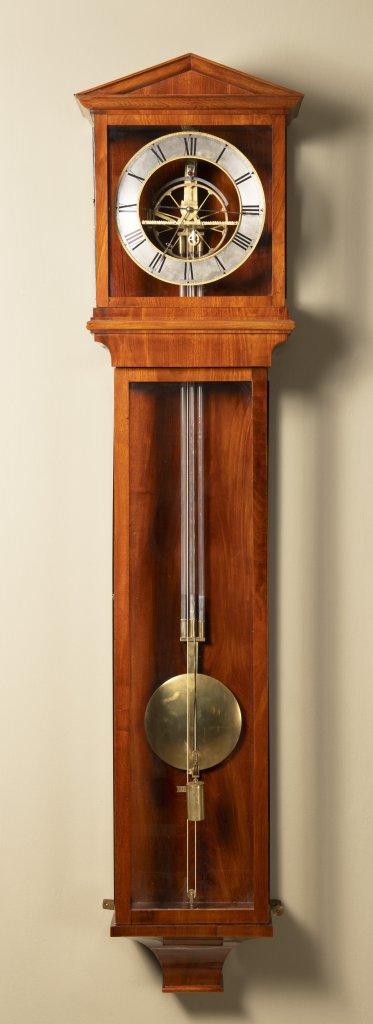 A REGULATOR WALL CLOCK 1st quarter of the 19th century Bohemia Mahogany, glass 162 x 36 x 15 cm