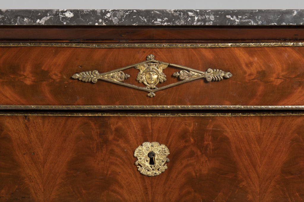A FRENCH EMPIRE CHEST Ca. 1810 France Wood (walnut, flame mahogany), bronze, marble 93 x 130 x 56 cm - Image 2 of 2