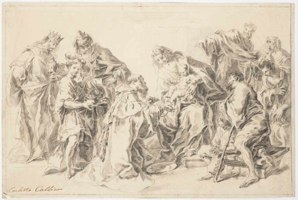 CARLO CALIARI, ZVANÝ CARLETTO 1570 - 1596: ADORATION OF THE MAGI Late 16th century Black chalk on