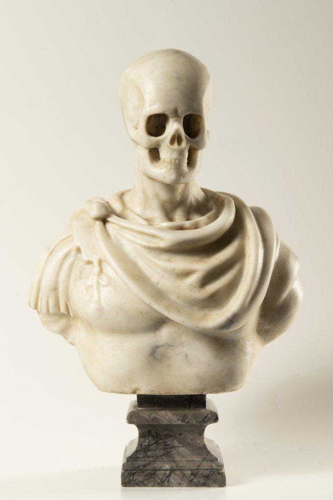 A MEMENTO MORI 19th century Italy Marble 38 cm This rare white Carrara marble bust presents an