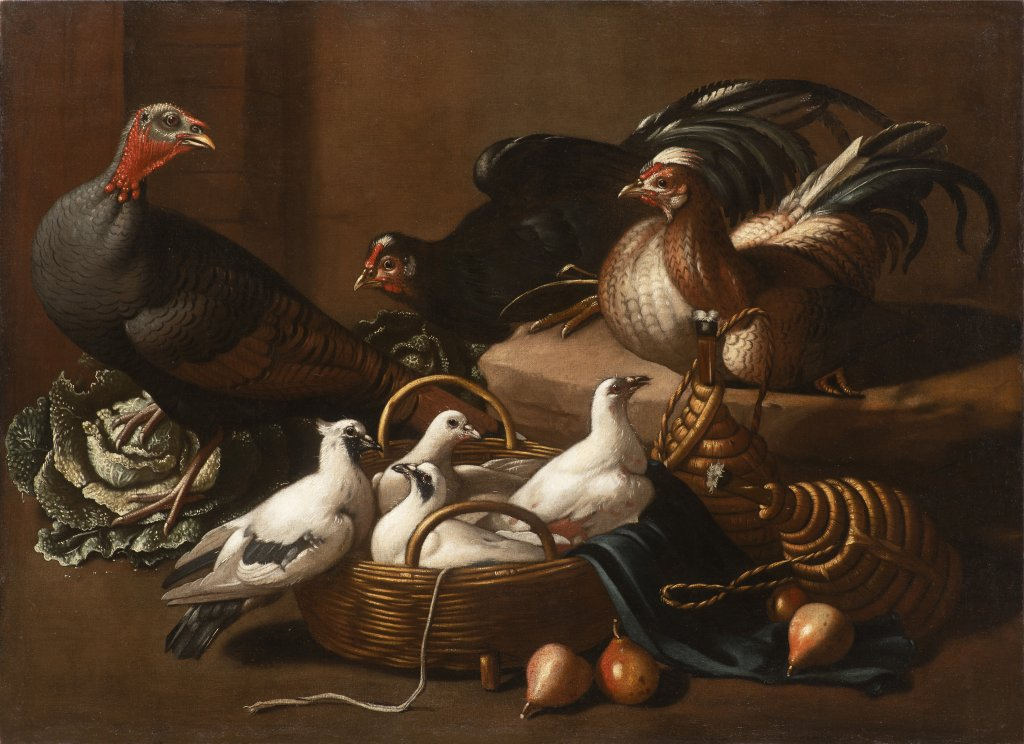 Lot 33 - JACOB VAN DER KERCKHOVEN 1636 - 1712: POULTRY IN THE KITCHEN 17th century Oil on canvas 96 x 132