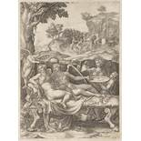 GIORGIO GHISI 1520 - 1582: PSYCHE AND EROS (CUPID) WITH DAUGHTER HEDONE 1574 Copper engraving 33 x
