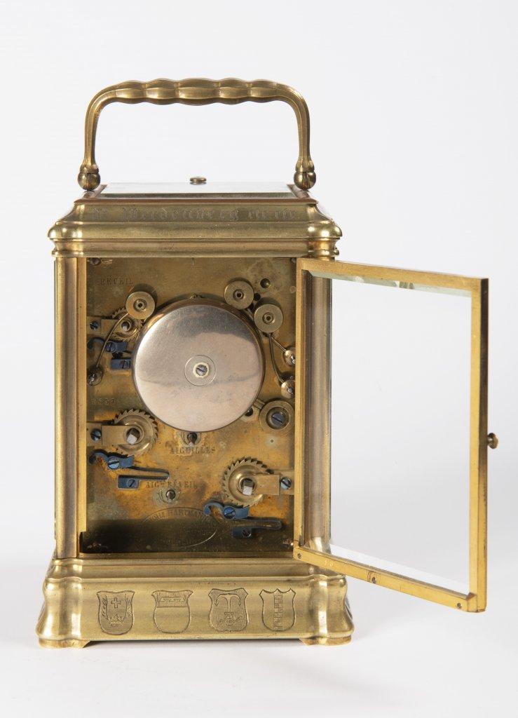 JOHANNES HARTMANN: A TRAVEL ALARM CLOCK IN A CABINET 1861 Germany Berlín Gilt bronze 17,5 x 9 x 8, - Image 3 of 5