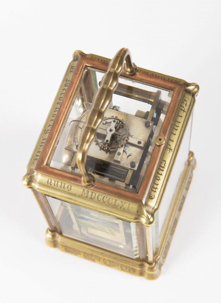 JOHANNES HARTMANN: A TRAVEL ALARM CLOCK IN A CABINET 1861 Germany Berlín Gilt bronze 17,5 x 9 x 8, - Image 4 of 5