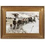 "JAROSLAV VÌŠÍN 1859 - 1915: RIDING IN WINTERTIME 1896 Oil on canvas 61 x 91 cm Signed lower right """