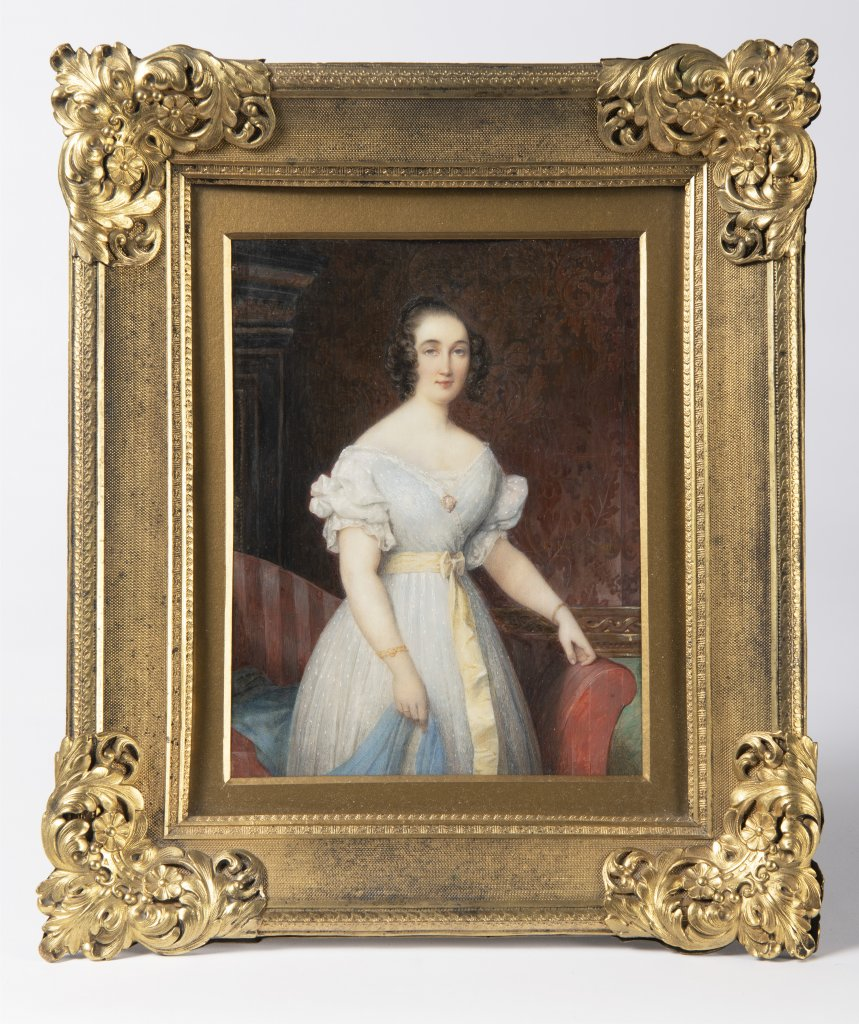 ÉTIENNE BOUCHARDY 1797 - 1849: MINIATURE OF A YOUNG LADY IN A WHITE DRESS 1840 Watercolor and