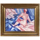 VÁCLAV ŠPÁLA 1885 - 1946: BATHING 1915 Oil on paperboard 50,5 x 65,5 cm Signed and dated lower right