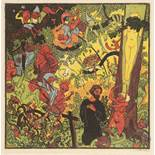 JOSEF VÁCHAL 1884 - 1969: THE TEMPTATION OF ST. ANTHONY 1912 Colored woodcut on paper In frame: 22 x