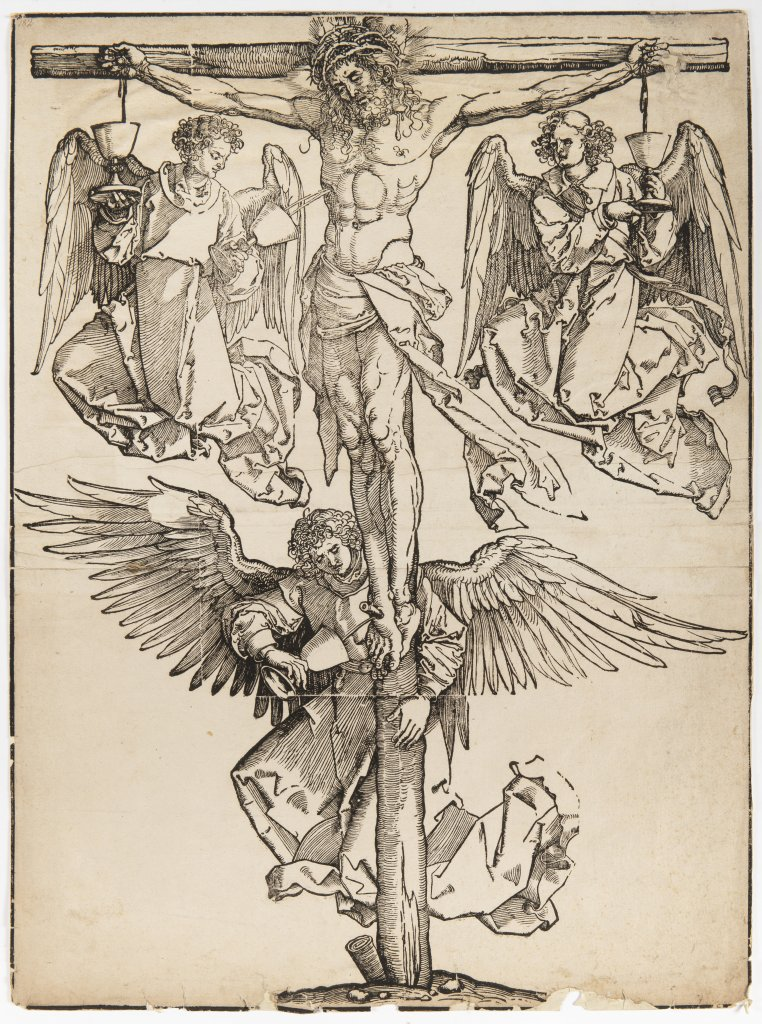 ALBRECHT DÜRER 1471 - 1528: CHRIST ON THE CROSS WITH THREE ANGELS Early 16th century Woodcut 58 x 42