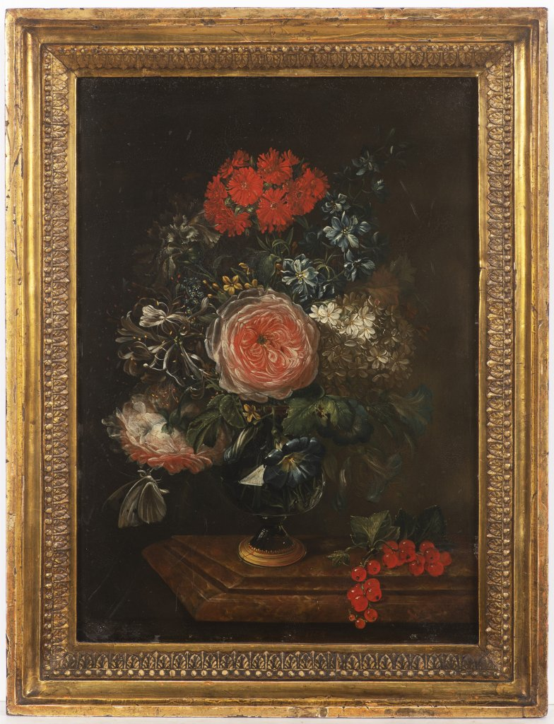 JAN KAŠPAR HIRSCHELY 1695 - 1743: FLORAL STILL LIFE ON A TABLE 1724 Oil on copper 34 x 24 cm