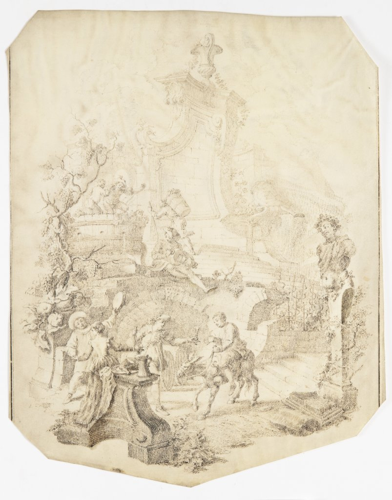 FRANCOUZSKÁ ŠKOLA: GRAPE HARVEST 18th century Pen and ink drawing on parchment 40 x 31 cm Gallant