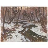 JAROSLAV PANUŠKA 1872 - 1958: WINTER LANDSCAPE WITH A BROOK Ca. 1910 Oil on card 49,5 x 66 cm Signed
