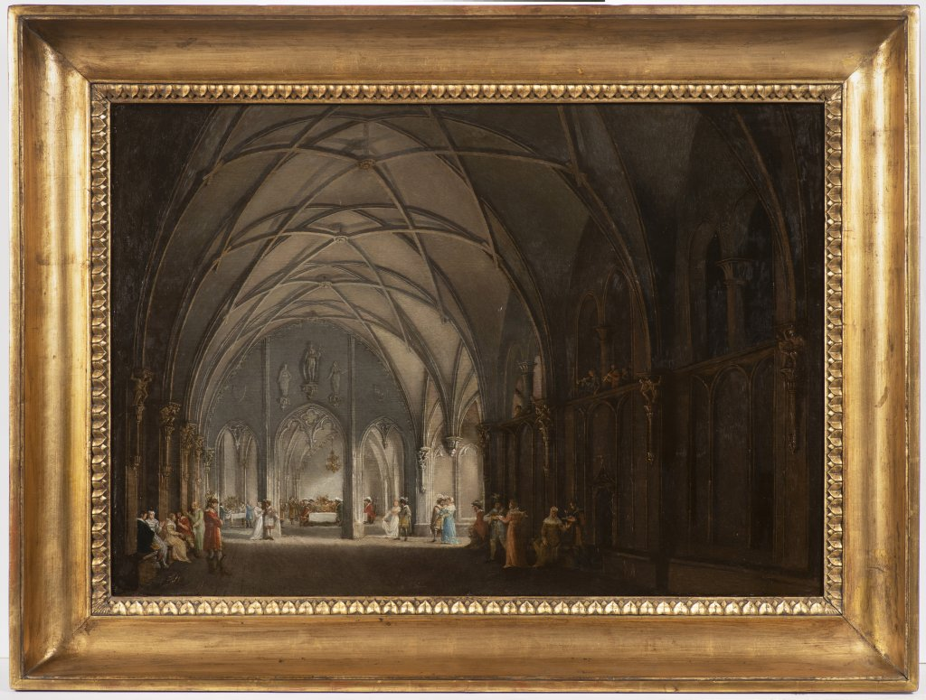 LUDVÍK KOHL 1746 - 1821: A GOTHIC HALL WITH FIGURES 1810 - 1820 Oil on wood panel 49 x 71 cm