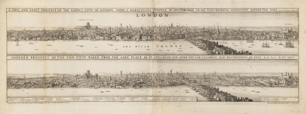 VÁCLAV HOLLAR 1607 - 1677: TWO VISTAS OF LONDON – BEFORE AND AFTER THE FIRE 1666 Etching 27 x 72