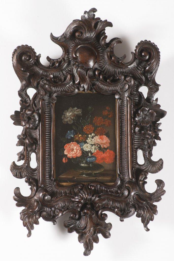 JAN KAŠPAR HIRSCHELY 1695 - 1743: FLORAL STILL LIFE IN A GLASS VASE First half of 18th century Oil