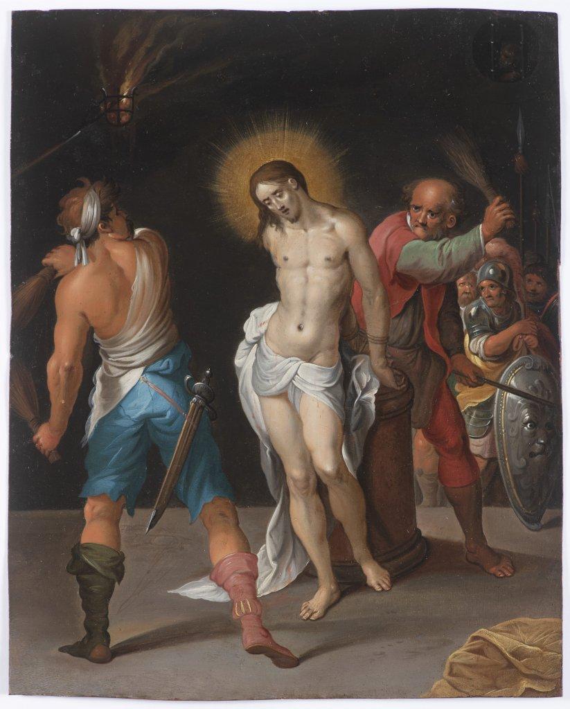 AMBROSIUS FRANCKEN I. 1544 - 1618: THE FLOGGING OF CHRIST Ca. 1600 Oil on copper 28,5 x 23 cm