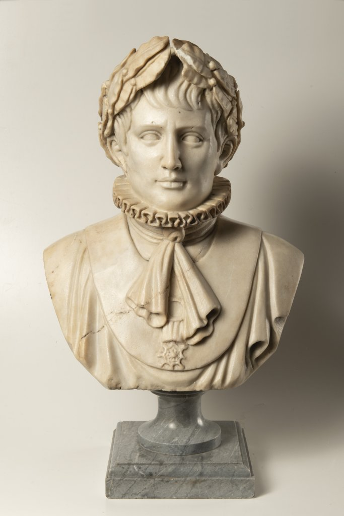 A BUST OF NAPOLEON BONAPARTE First half of 19th century Northern Italy Marble 53 cm This Italian