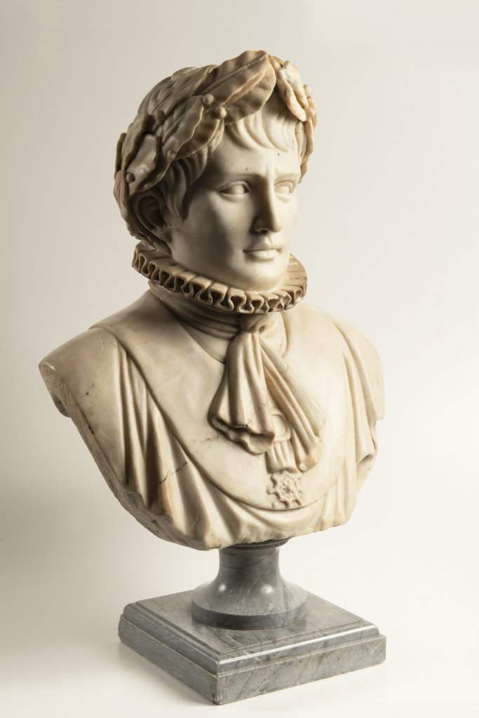 A BUST OF NAPOLEON BONAPARTE First half of 19th century Northern Italy Marble 53 cm This Italian - Image 2 of 2