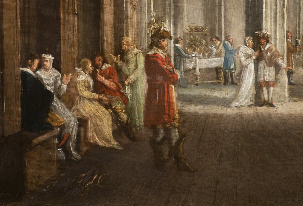 LUDVÍK KOHL 1746 - 1821: A GOTHIC HALL WITH FIGURES 1810 - 1820 Oil on wood panel 49 x 71 cm - Image 2 of 2