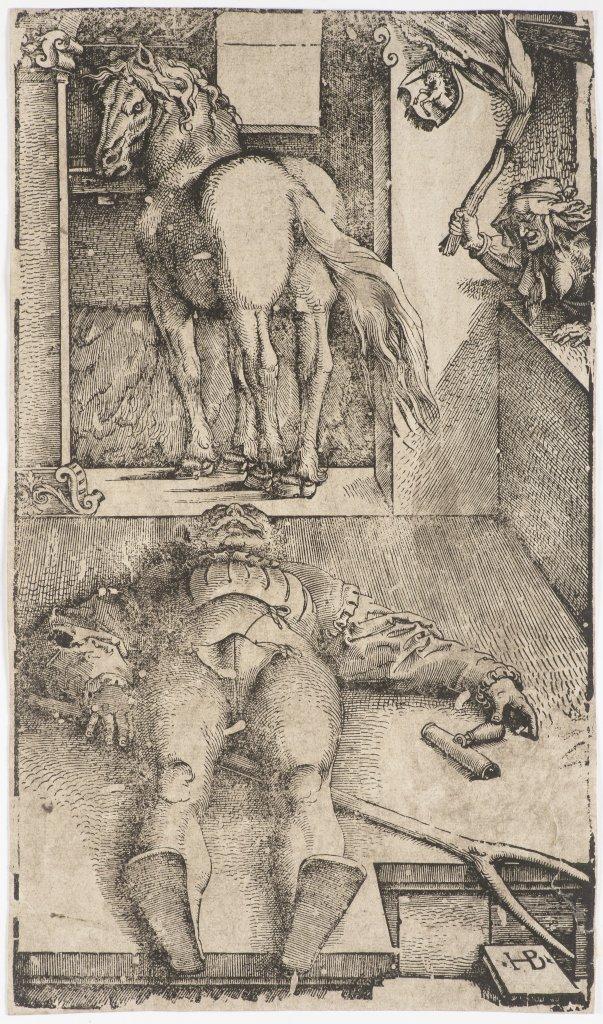 HANS BALDUNG GRIEN 1484 - 1545: SLEEPING GROOM AND SORCERESS 1544 Woodcut 34 x 20 cm Marked on lower