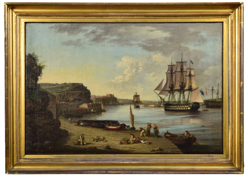 Lot 554 - Anton Schranz the Elder (German/Maltese, 1769-1839) British Warships in Port Mahon, Minorca,