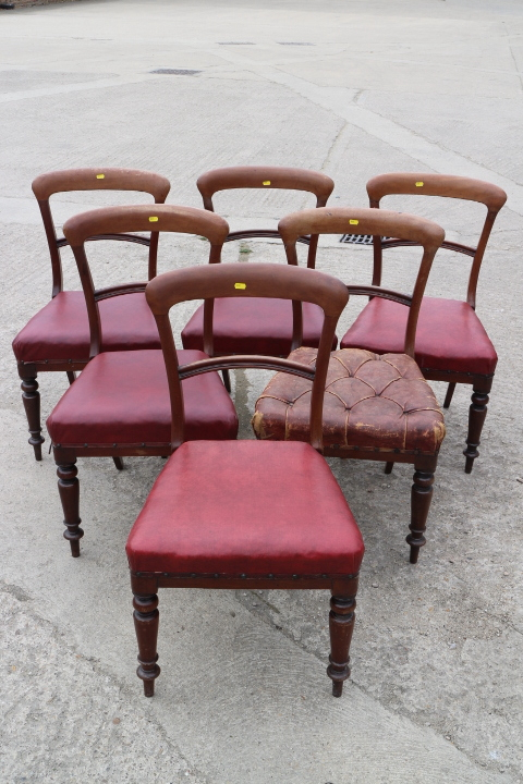 Lot 428 - A set of six 19th century mahogany standard bar back dining chairs, upholstered in a red