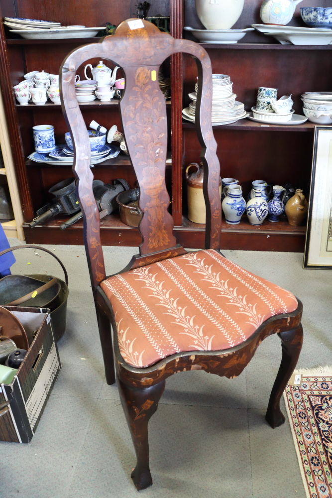 Lot 422 - An antique walnut Dutch marquetry side chair with drop-in seat, on cabriole supports