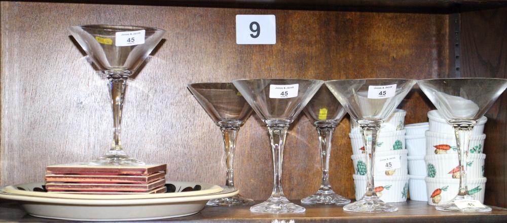 Lot 45 - A set of six cut glass martinis, twelve ramekins, various, and other ceramics