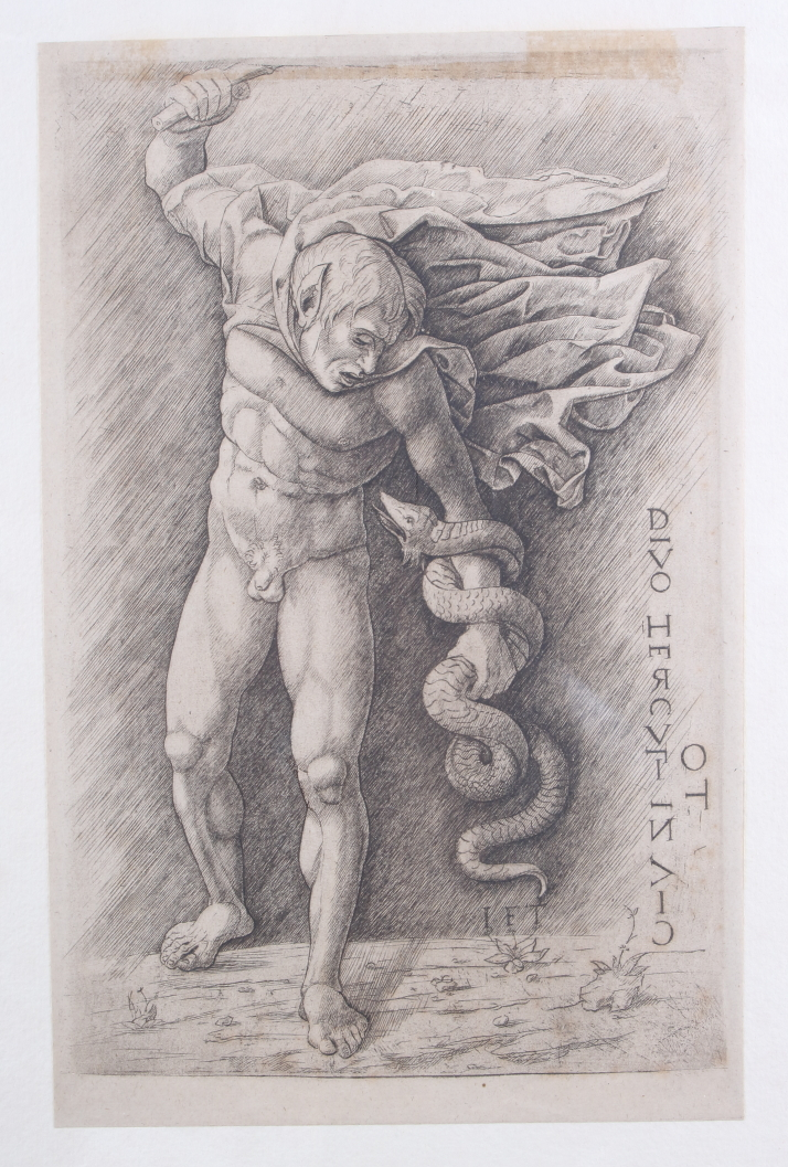 Lot 323 - School of Andrea Mantegna: a 15th century engraving, Hercules slaying the Hydra, in Hogarth frame