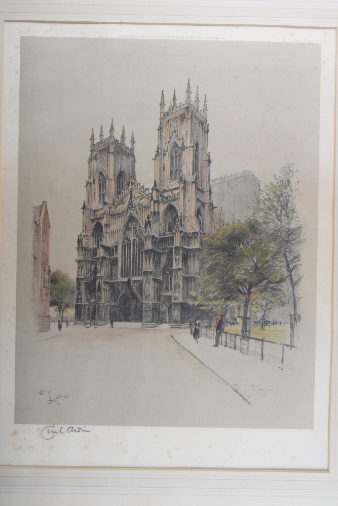 "Lot 324 - Cecil Aldin: a signed colour print, ""York Minster"", in oak strip frame, and H E Howarth: a dry point"