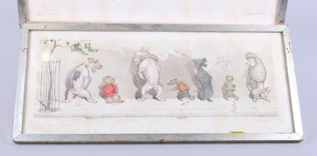 "Lot 316 - Boris O'Klein: a set of four ""Dogs of Paris"", in strip frames, and an etching of a landscape,"