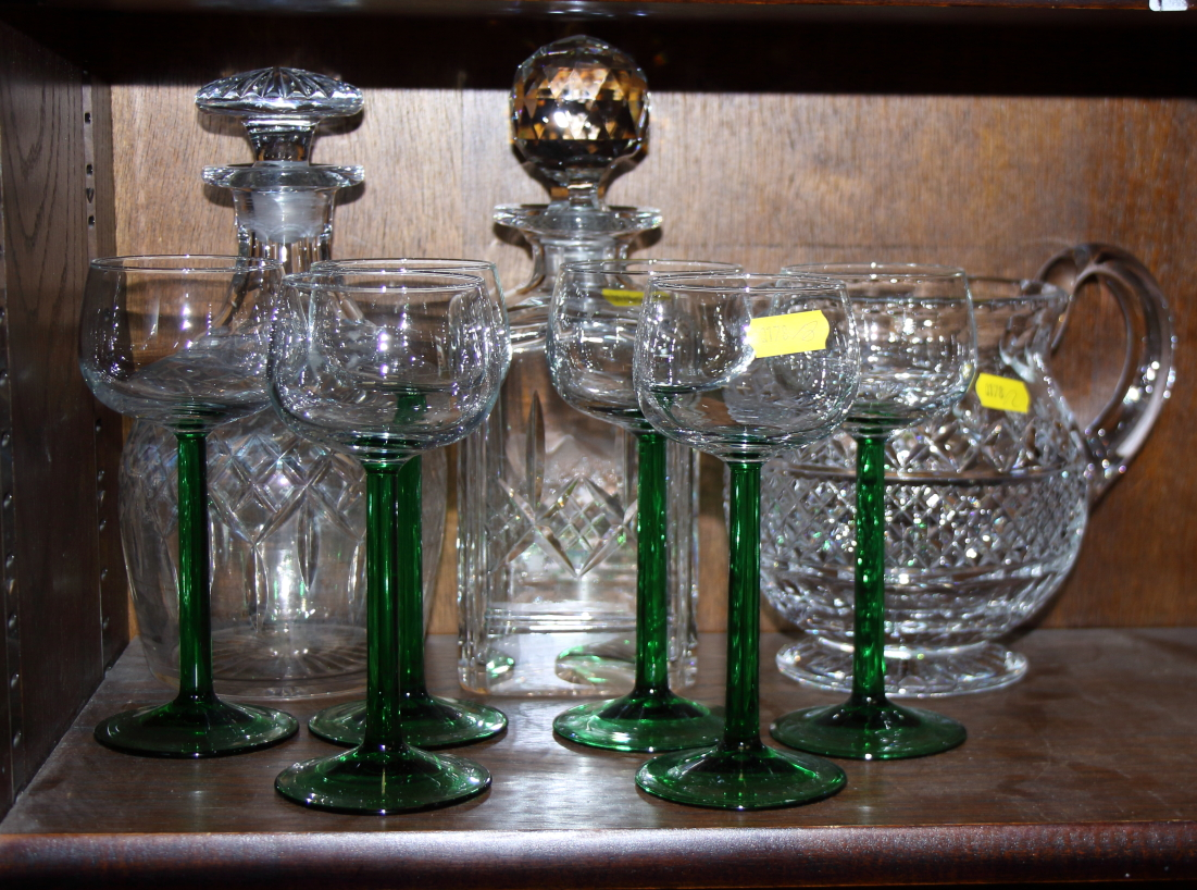 Lot 50 - A quantity of glassware, including decanters, wine glasses, sherry glasses and other items