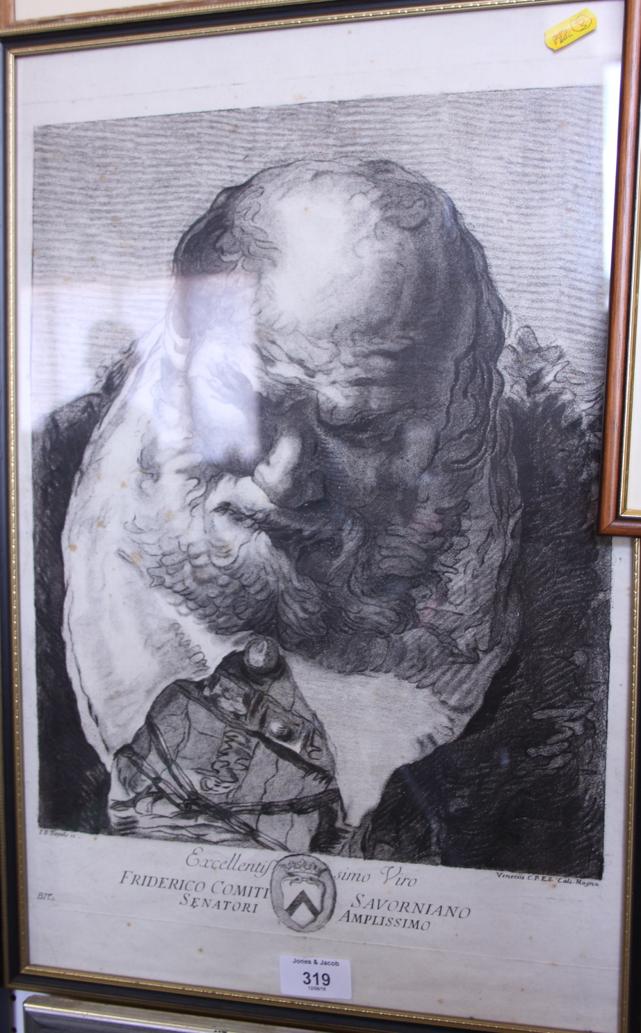 "Giambattista Tiepolo: 18th century crayon manner/mezzotint, ""Friderico Comiti Savorniano"", in"