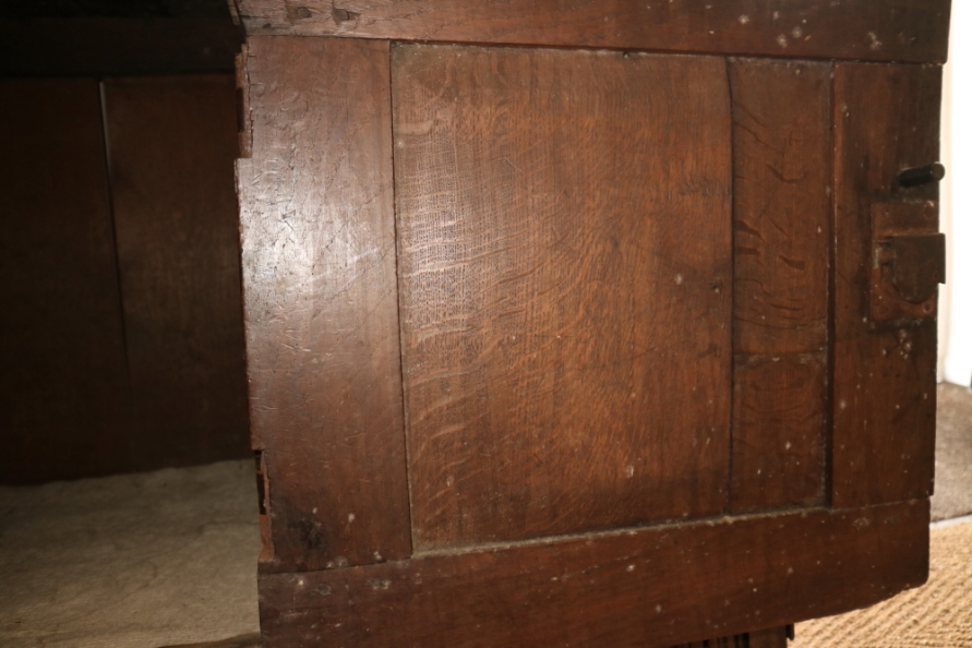 """Lot 404 - A 18th century carved oak deuddarn, the upper section fitted two doors over two further doors, 73"""""""