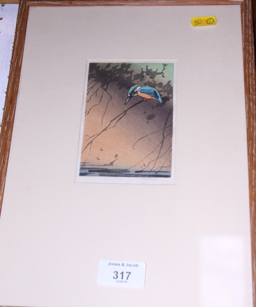 "Lot 317 - Allen William Seaby: a signed woodcut colour print, ""Kingfisher"", in oak strip frame"
