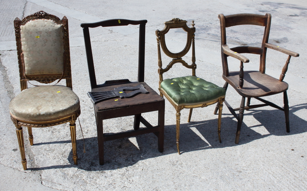 Lot 438 - Two carved giltwood chairs (in need of restoration), an oak carver chair and an oak splat back chair