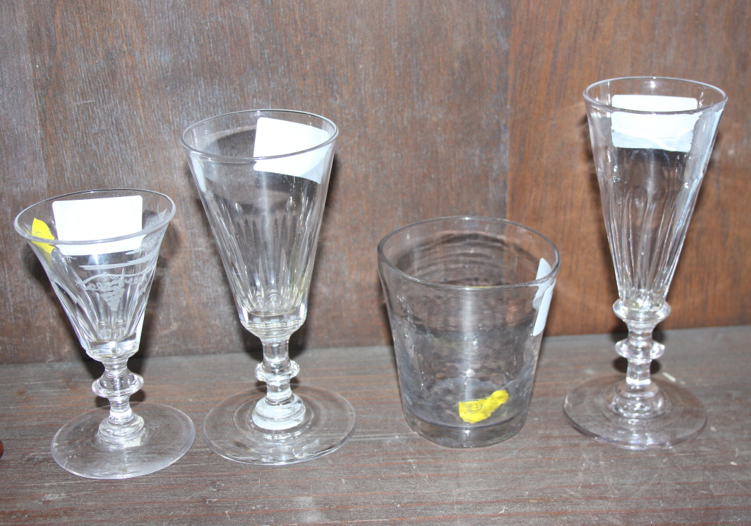 Lot 24 - Four 19th century English drinking glasses, various