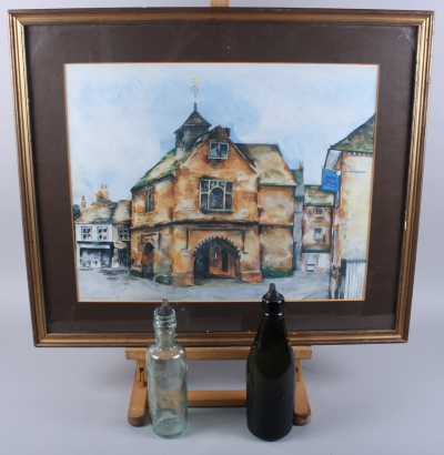 Lot 314 - Stephen Brook: a signed limited edition colour print, Watlington Town Hall, 17/110, in gilt frame, a