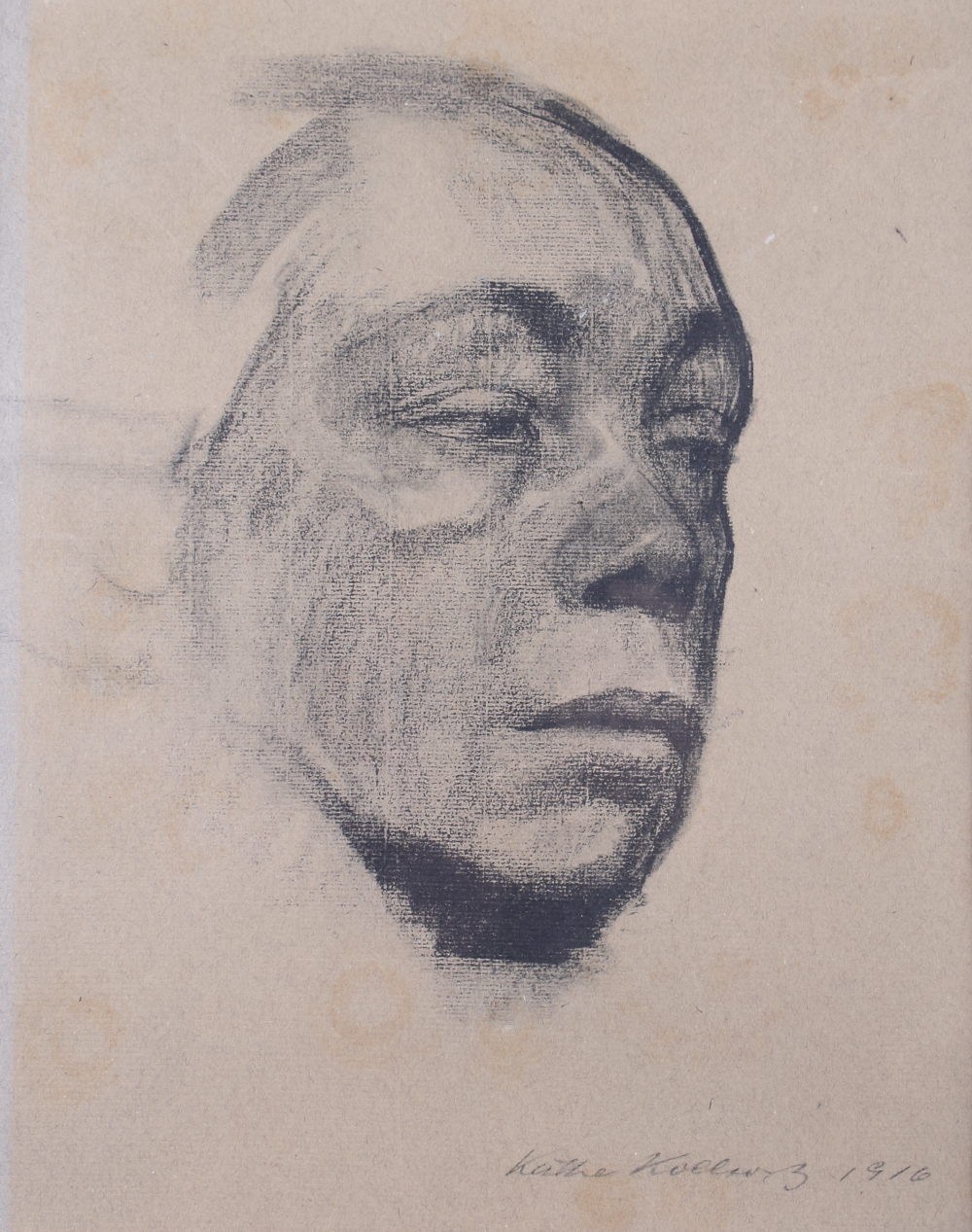 "Lot 359 - Kathe Kollwitz, 1916: monochrome print portrait of a woman, 11 1/2"" x 13 1/2"", in wash line mount"