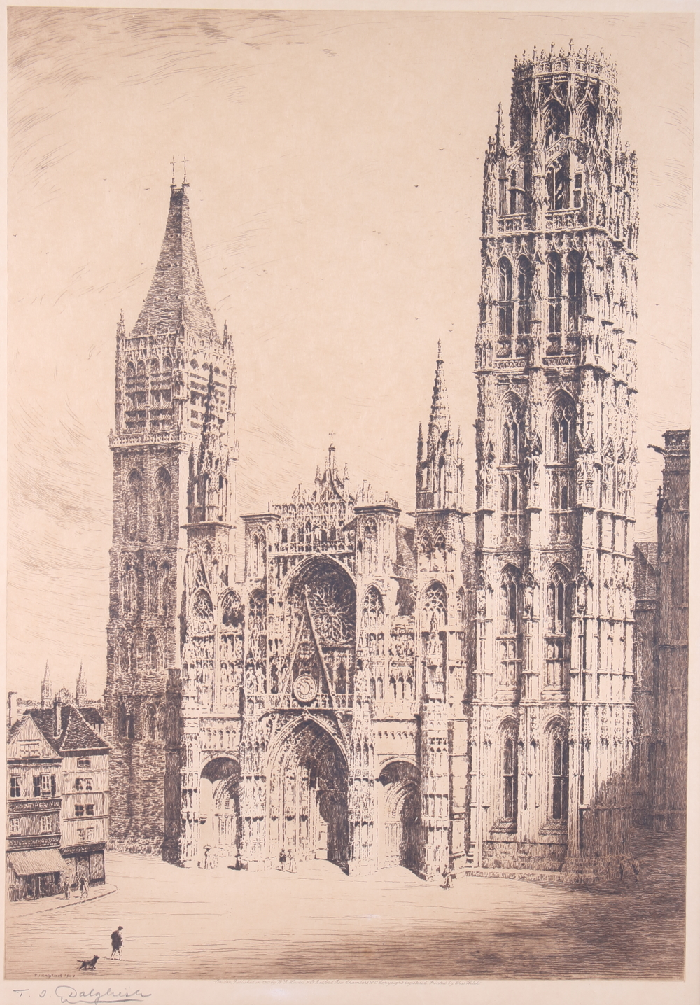 """Lot 332 - A print, Adam and Eve, """"Paradise"""", a print of Rouen France, two boating prints and another, """"Canal"""