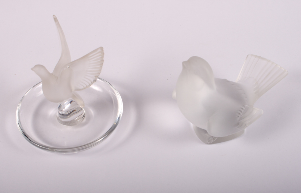 "Lot 21 - A Lalique pin tray, mounted frosted glass figure of a dove taking flight, 4"" high, and a Lalique"