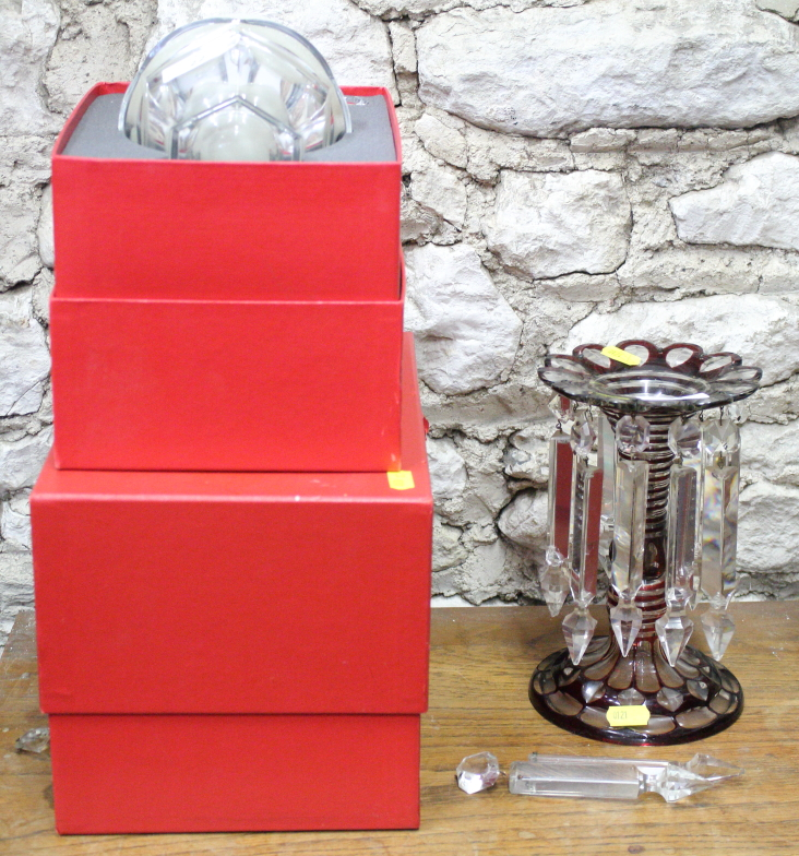 Lot 22 - A ruby overlaid glass table lustre and two boxed pieces of Baccarat crystal