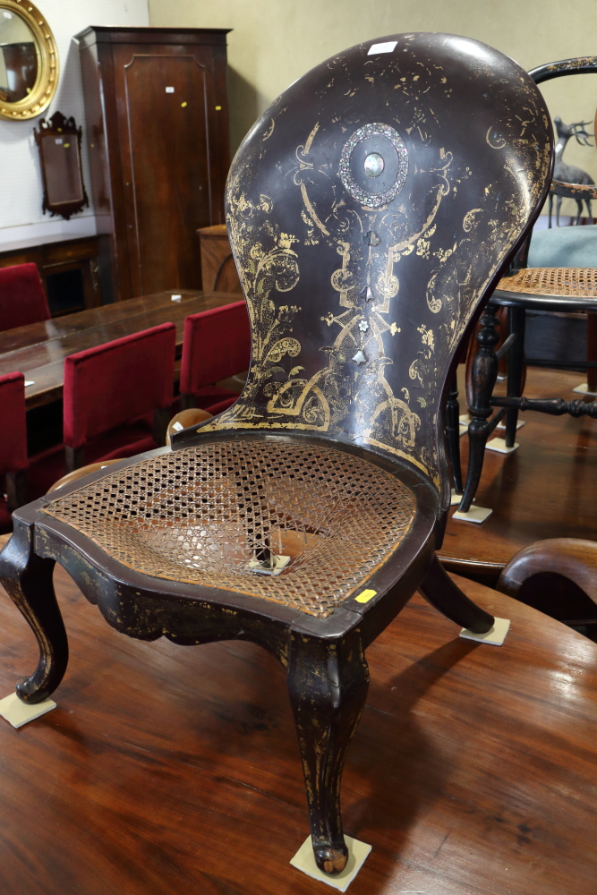 Lot 420 - A pair of Victorian Japanned and mother-of-pearl inlaid bedroom chairs and similar papier-mache