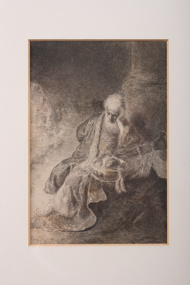 Lot 310 - After Rembrandt: an etching, old man with bowl of treasure, in strip frame