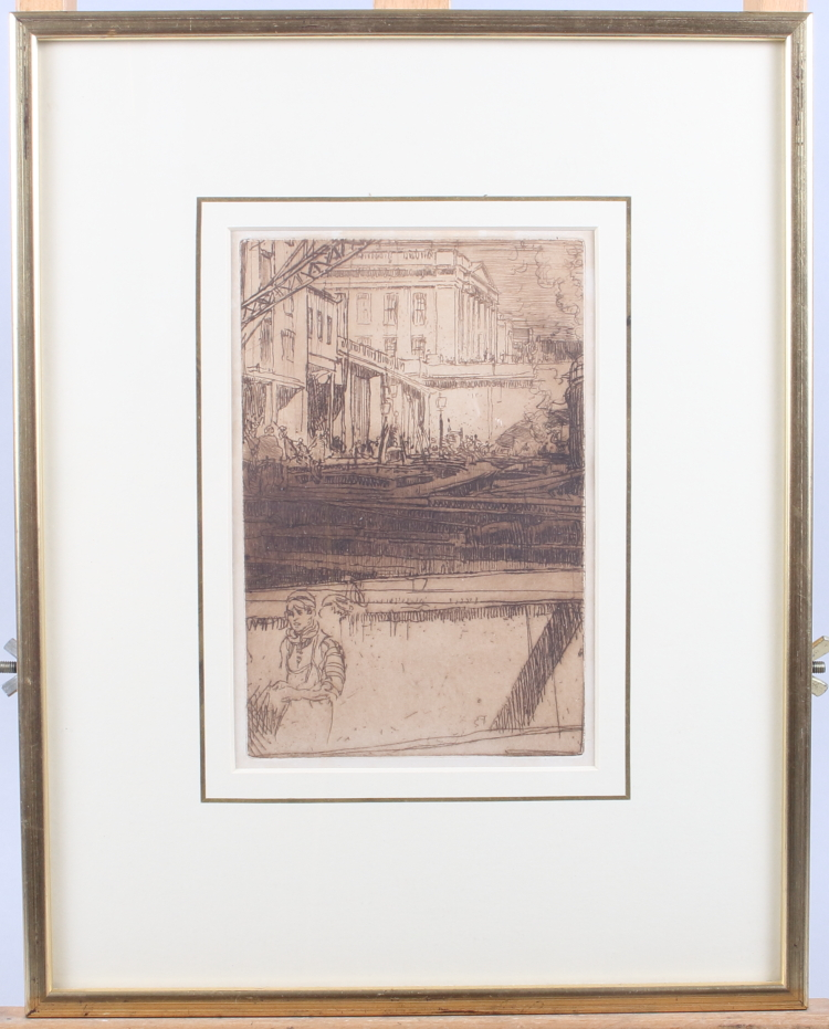 """Lot 309 - Frank Brangwyn: an etching, """"Fishmongers' Hall from the River"""", in gilt strip frame"""